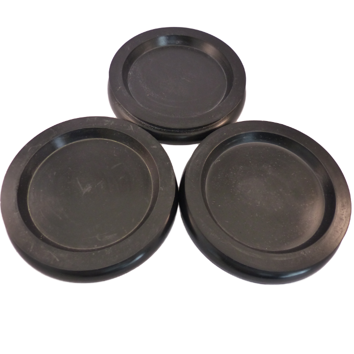 Castor Cups Black Rubber Large - set of 3